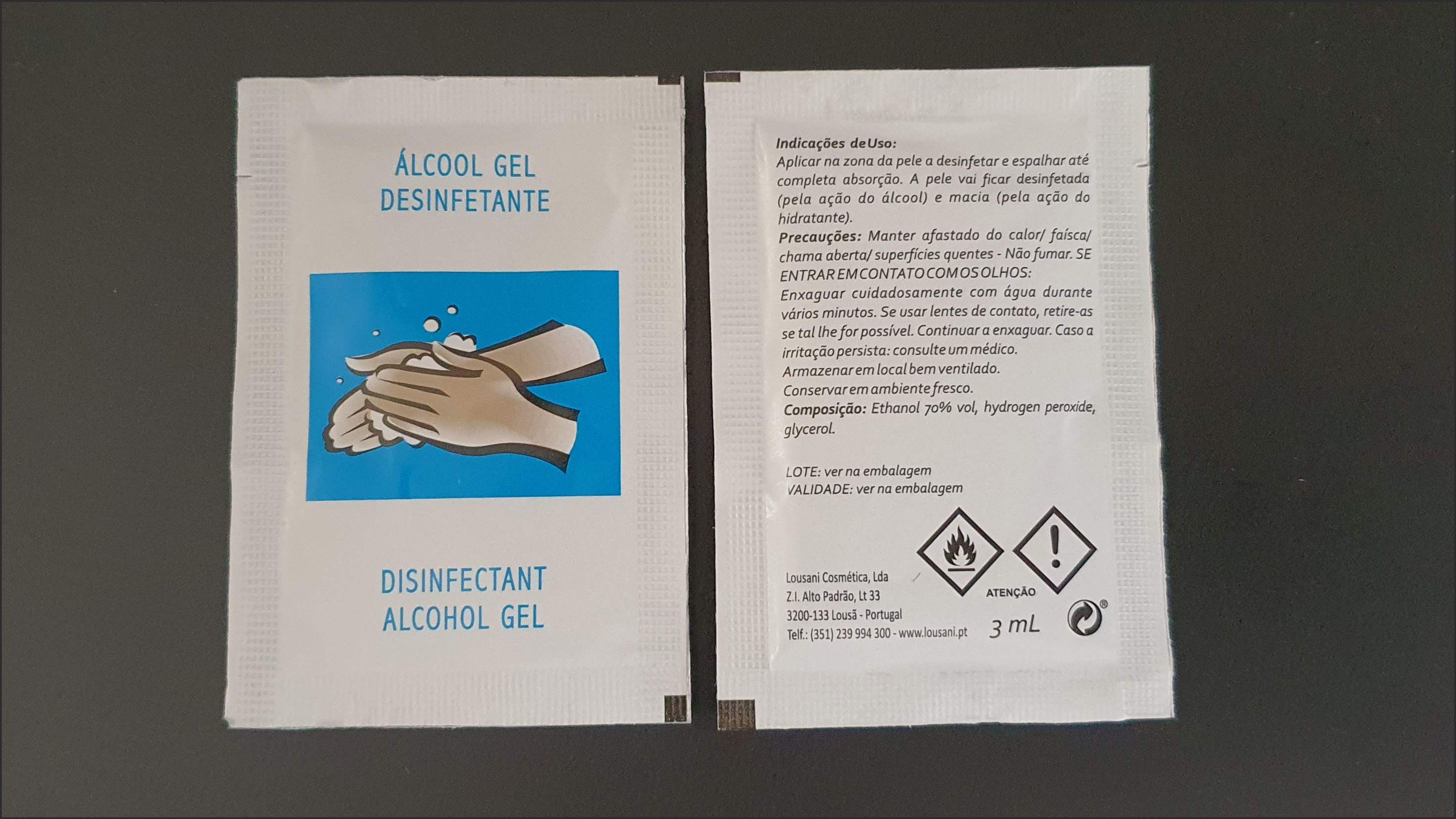 Álcool Gel Desinfetante Saqueta Individual 3ML